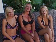 Great lesbian outdoor threesome