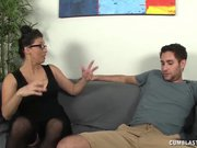 Huge-titted milf gets splattered with jizz