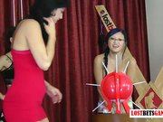 3 innocent teens play a strip game of don't pop the balloon