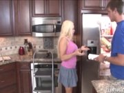 Blonde milf handjob in the kitchen