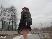 Jeny Smith upskirt no panties pantyhose in public