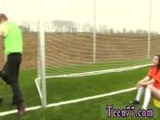 Ebony milf seduces teen girl Dutch football