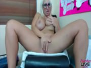 Squirting blonde with big tits and glasses